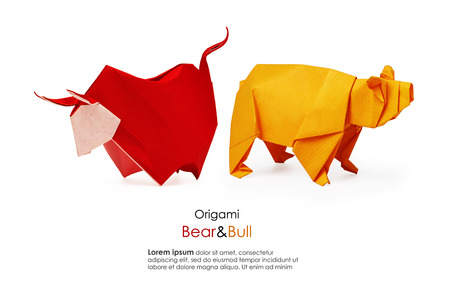 conflict: Bear and bull origami paper business analising market on a white background