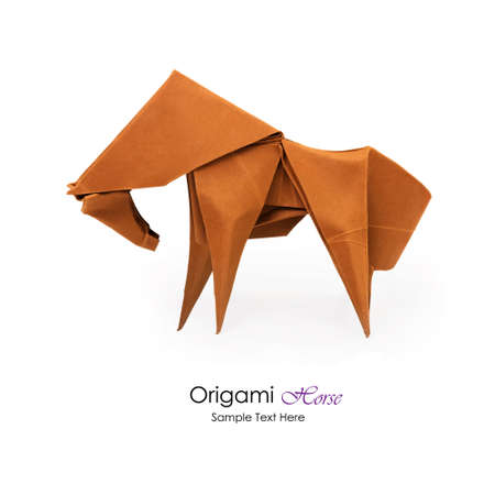 Origami paper art red horse on a white background