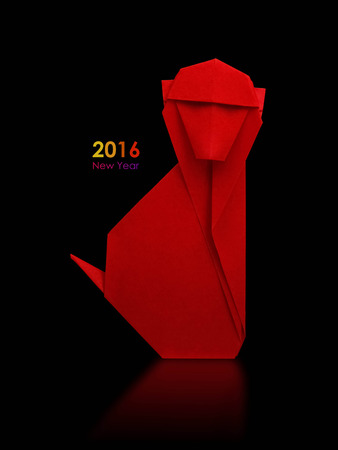 mono caricatura: 2016 a�o nuevo simbol Origami mono rojo sobre un fondo negro