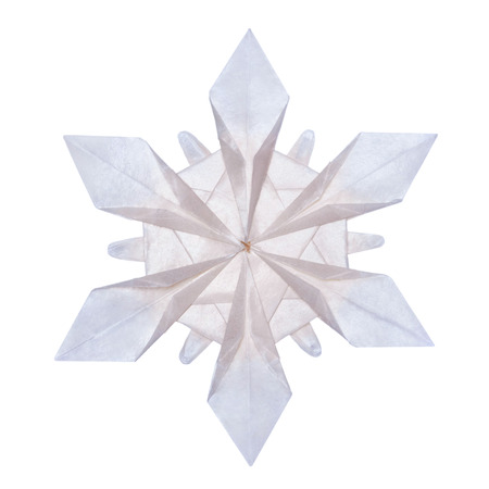 cold background: Origami paper fragility transparent christmas winter cold blue snowflakes on a white background