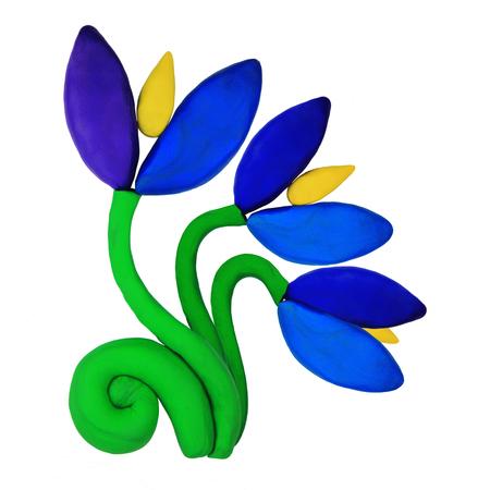 Plasticine blue snowdrop springtime flowers on a white background