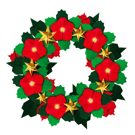 Red and green isolated christmas red poinsettia flower origami red and green isolated christmas red poinsettia flower origami wreath on a white background stock photo mightylinksfo