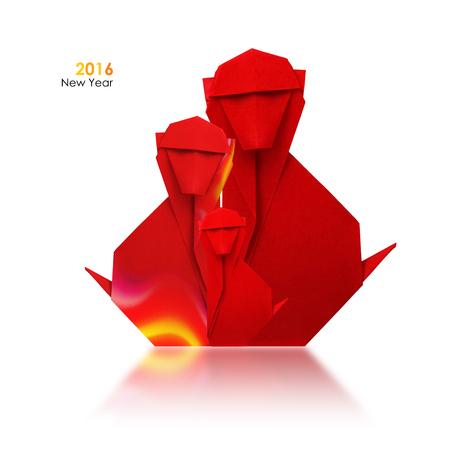 brandweer cartoon: 2016 nieuwe jaar simbol origami rode brand aap familie op een witte achtergrond