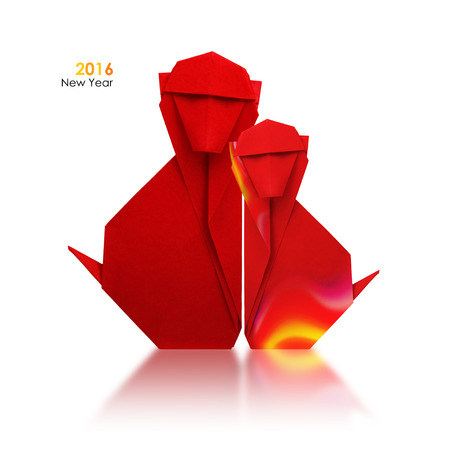 asian family: 2016 new year simbol origami red fire monkey couple on a white background
