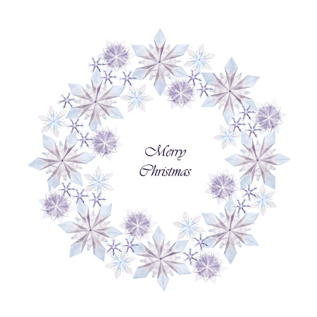 fragility: Origami paper fragility christmas wreath cold blue snowflakes on a white background