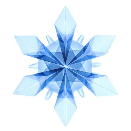 origami paper: Origami paper fragility transparent blue christmas winter cold blue snowflakes on a white background