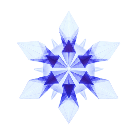 fragility: Origami paper fragility transparent blue christmas winter cold blue snowflakes on a white background