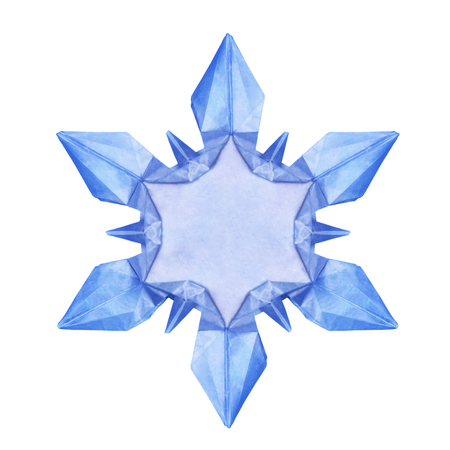 fragility: Origami paper fragility ice blue christmas winter cold blank snowflakes on a white background
