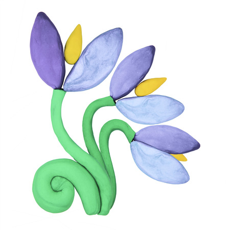 springtime: Plasticine blue snowdrop springtime flowers on a white background