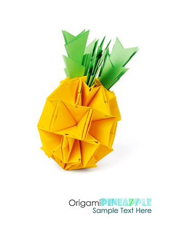 cartoon pineapple: Origami paper pineapple yellow vitamin diet tropical fruit on a white background