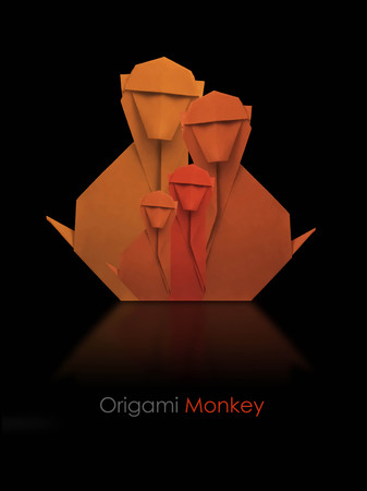 black family: Origami geometrik paper monkey family on a black background