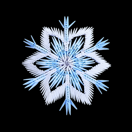 fragility: Origami paper fragility ice blue christmas winter cold snowflakes on a black background