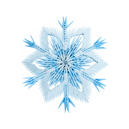 fragility: Origami paper fragility ice blue christmas winter cold snowflakes on a white background
