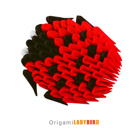 ladybird: Origami paper ladybird isolated cartoon on a white background