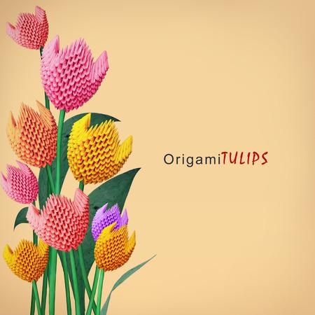 biege: Origami 3d multicolor paper decoration tulip flowers bouquet on a biege background Stock Photo