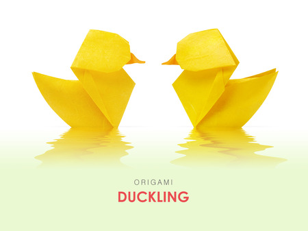 floating in water: Origami paper yellow ducklings pair floating in water on a green background Stock Photo