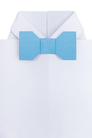 Origami Paper Mens Shirt With Event Bow Tie Bkue And White Wth