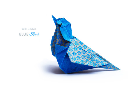 metalic: Origami art electric blue and bronze metalic floral bohemia pattern paper bird on a white background