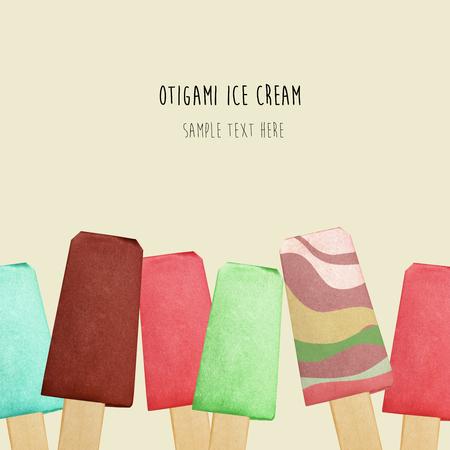 eskimo: Origami paper chocolate fruit eskimo ice cream on a beige background Stock Photo