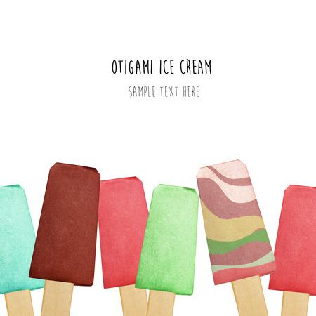 eskimo: Origami paper chocolate fruit eskimo ice cream on a white background Stock Photo