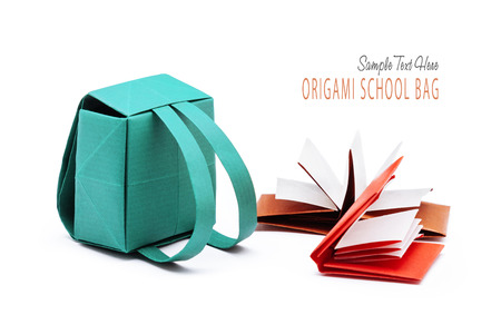 School backpack with education books origami set on a white background