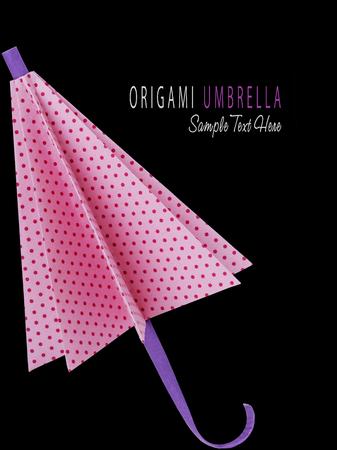 polkadot: Origami pink polka-dot protection umbrella on a black background