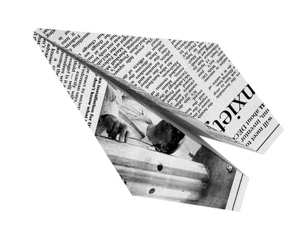 fake newspaper: Newspaper Airplane business concept isolated on a white background flat