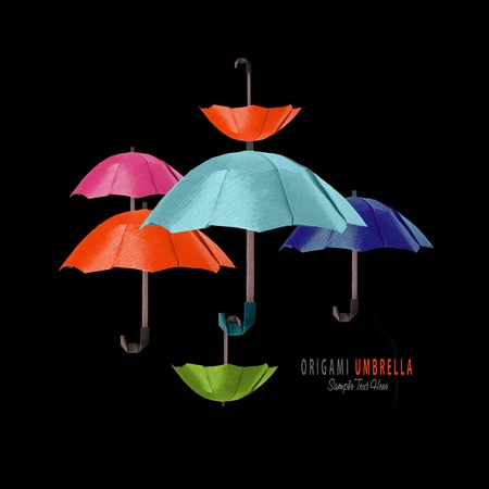 paper umbrella: Origami paper art protection umbrella composition on a black background Stock Photo