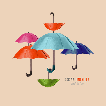 paper umbrella: Origami paper art protection umbrella composition on a beige background