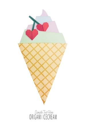Ice cream origami in the cone