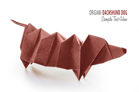 Cartoon Origami Dachshund Dog Stock Photo Picture And Royalty Free