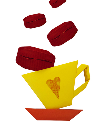 Origami paper of a cup of coffee on a white background