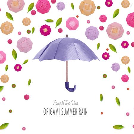 paper umbrella: Origami umbrella with flowers Stock Photo
