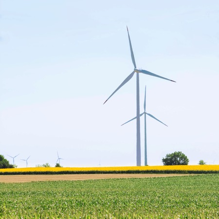 Windmills for electric power Stock Photo