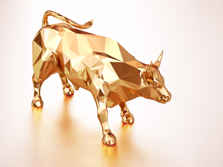 Render illustration of golden bull