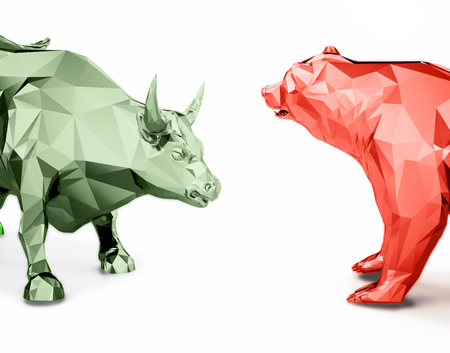Render illustration of golden bull and bear head