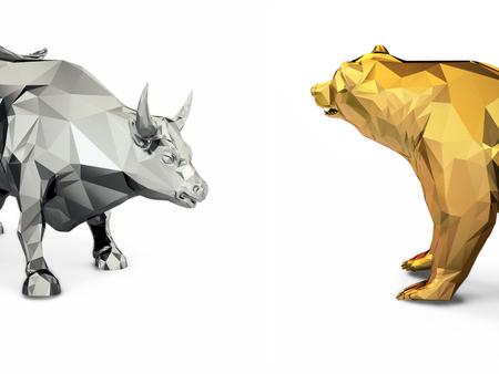 황금 황소와 곰 머리의 렌더링 그림 스톡 콘텐츠
