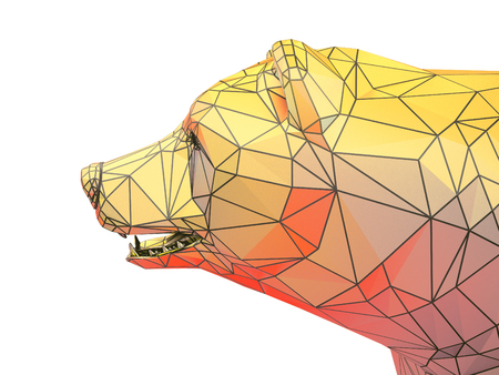 bullish market: Render illustration of golden bear head Stock Photo