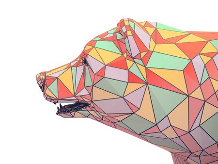 Render illustration of golden bear head Stock Photo