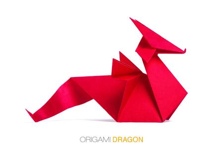 Origami red paper dragon Standard-Bild