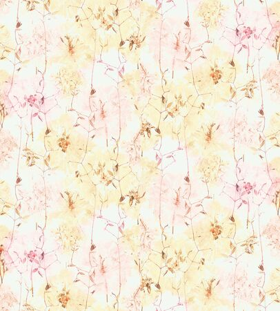 Pressed and dried summer yellow pink flowers pattern