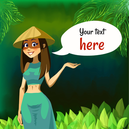 cartoon girl in Asian conical hat originating in East, South, and Southeast Asia, particularly Bangladesh, Bhutan, China, Cambodia, India, Indonesia, Japan, Korea, Malaysia, Myanmar, Philippines, parts of Russian Manchuria and Vietnam.