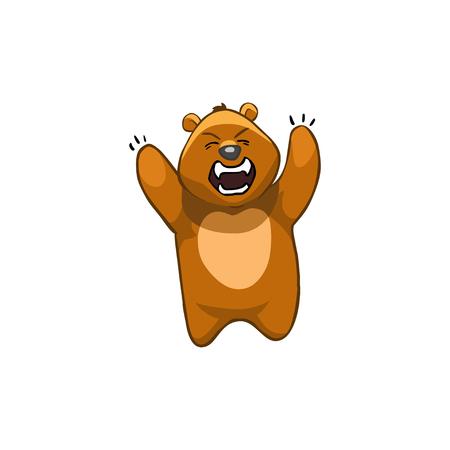furious: Brown Bear Cartoon Character.Emotion: furious