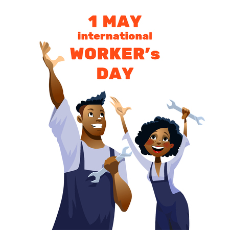 harpoon: illustration - International Labor Day on May 1st,  International Workers Day. Funny Happy Harpoon Characters. Illustration