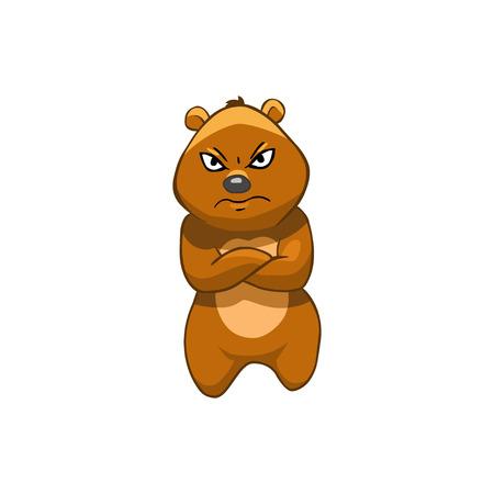 displeased: Brown Bear Cartoon Character. Displeased