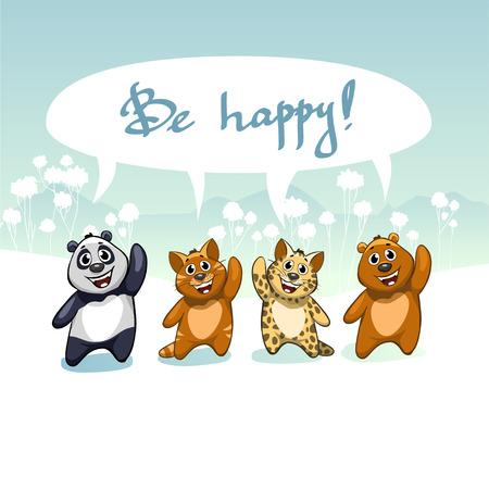 be happy: cartoon illustration with funny cute cat, cheetah, bear and panda. Handwritten inscription Be Happy