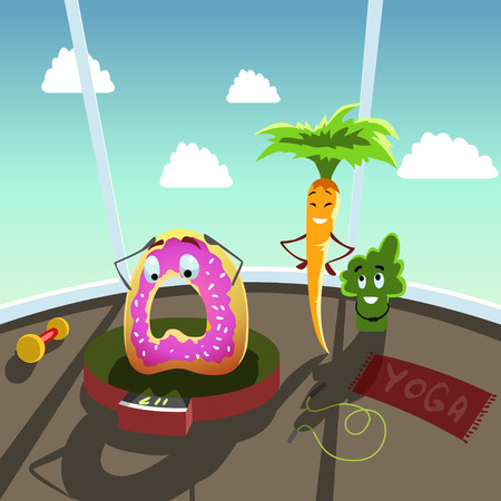 Mr. Doughnut Donut is upset with his weight . illustration with funny donut, broccoli and carrot. Humor, diet, cartoon stock clip art.