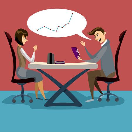 Illustrazione di comunicazione piatta. L'uomo d'affari e la donna di affari stanno discutendo in ufficio, stanno parlando di un importante grafico in aumento. Ufficio. conversazione