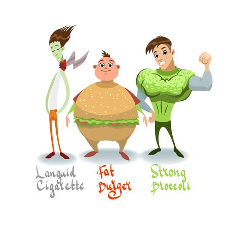 humor: Languid Mr. Cigarette, mr. Broccoli and  fat mr. Berger.  Humor, diet, cartoon stock clip art, food.