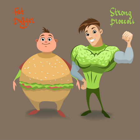 stock clip art: Strong mr. Broccoli and  fat mr. Berger.  illustration with funny characters. Humor, diet, cartoon stock clip art, food.